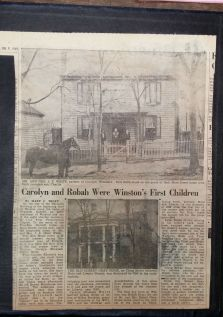 This article (February 9, 1949) tells of the first girl and boy born in the newly established county town of Winston, which was in 1849. Carolyn Elizabeth Rights White came first, according to this article by Mary C. Wiley, and Robah Gray came second. Wiley includes detail about the landscapes surrounding their homes and the paths the two pioneer citizens followed.