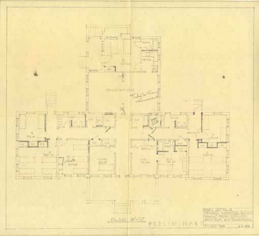 Floor plan by Lashmit Brown & Pollock Architects for improvements to Memorial Industrial School's baby cottage dormitory in 1964.