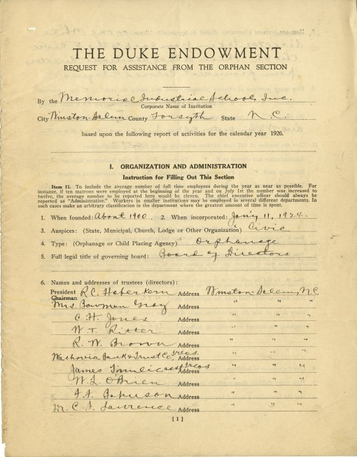 Front page of the Memorial Industrial School's 1926 application for assistance from The Orphan Section of The Duke Endowment.