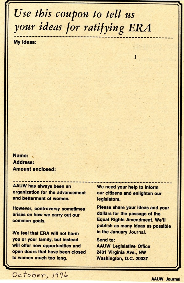 Coupon asking for ideas for ratifying the ERA, printed in the AAUW Journal 1976.