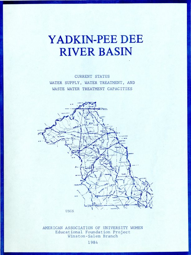 Cover of the Report on the Yadkin-Pee Dee River Basin Study  1984.