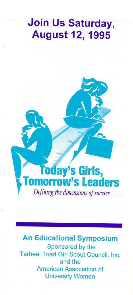 Brochure for the Educational Symposium,  Today's Girls, Tomorrow's Leaders  1995