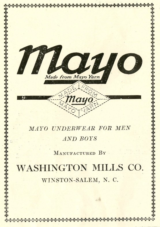 Mayo Underwear/Washington Mills Co. advertisement.