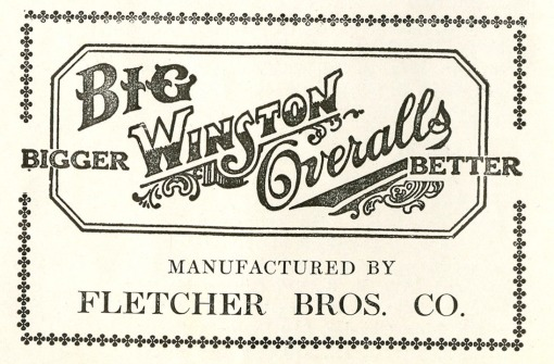 Big Winston Overalls/Fletcher Bros. Co. advertisement.