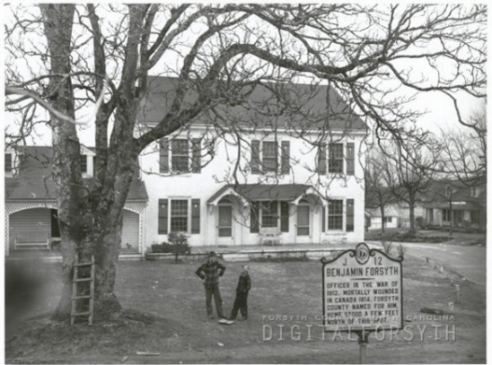 Figure 7 Taken from digitalforsyth.org, a picture of the highway marker in Germanton in 1948. Is this a picture of the Forsyth house?
