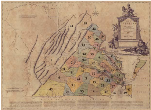 Figure 3 Early map of Virginia and its counties, 1770. Forsyth's probable birthplace of Louisa County is number 34 on the map. Source from Library of Congress.