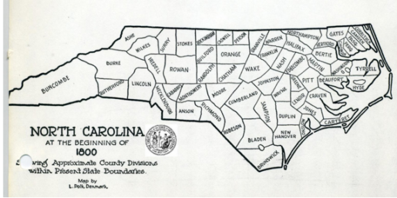 Figure 4 This map gives the political boundaries of North Carolina in 1800. Forsyth lived in Germanton during this time, the county seat of old Stokes which would be located about the center of Stokes County shown here.