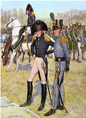 Figure 5 The officer on the right in the foreground is most likely how Benjamin Forsyth would have looked in uniform ca. 1814. The riflemen under his command in the background are shown with green smocks.