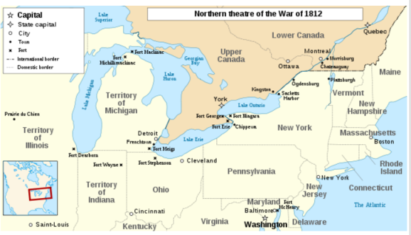 Figure 6 This map shows the northern theatre of battle during the War of 1812. Many of the noted areas where Forsyth and his riflemen encountered battle include Fort George, Sacketts Harbor, Ogdensburg and Plattsburgh, where he eventually lost his life.
