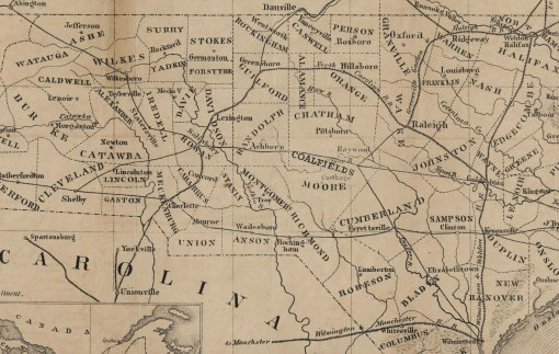 The 1854 Schroeter map shows the existing railroads in NC and the soon to be completed North Carolina Railroad