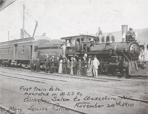 The 1st WSSB train ran on Thanksgiving afternoon, Nov 24, 1910. It departed Winston-Salem at 12:35 PM and, after stops at each station, arrived in Wadesboro at 7:00 PM.