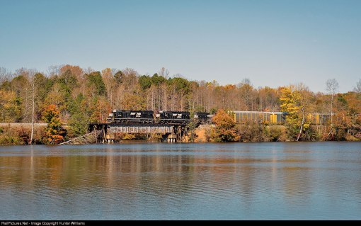 NS triple header hauling new cars to Walkertown past Salem Lake
