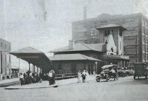 The 1904 Union Station about 1920. In the background is Building 12a at RJR Tobacco Plant 256, now the Forsyth County Government Center.