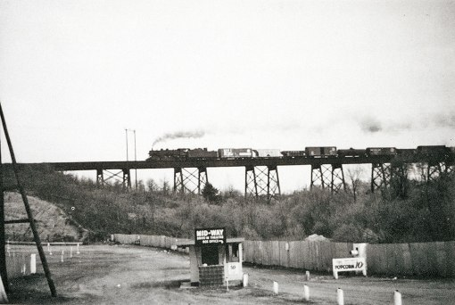 WSSB freight on the trestle at the Midway Drive-in Theater, April 27, 1957