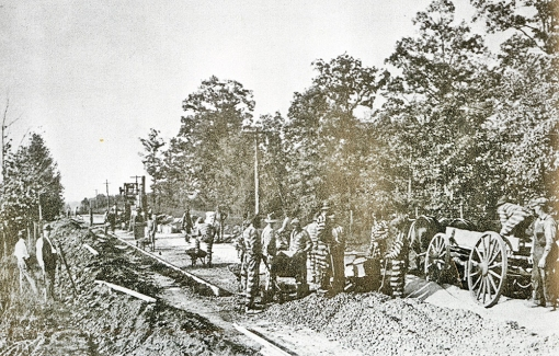 Convicts paving Reynolda Road, c 1917