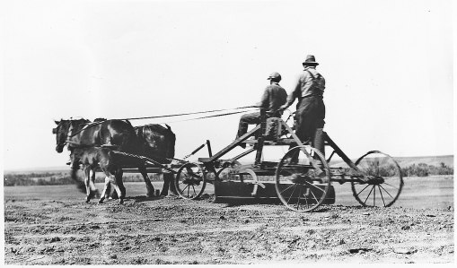 When Captain Burke began building roads, graders were drawn by horses or mules
