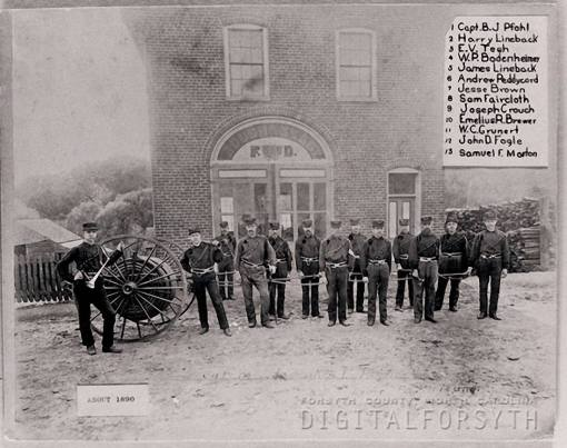 Salem's Rough & Ready crew, c 1890. Names read left to right. Andy peddycord is sixth from left. Captain Pfohl is holding a speaking trumpet.