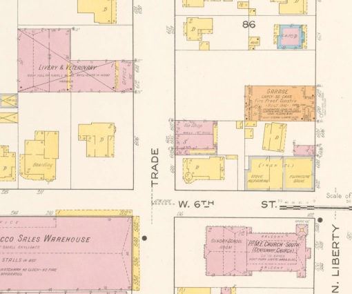 The original building at 610-12 North Liberty as seen on the 1917 Sanborn insurance map