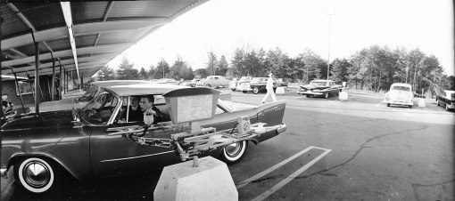 The third edition of Staley's Reynolda Road drive-in opened in the early 1960s with a menu and microphone for ordering by each car