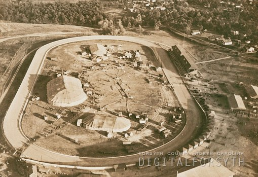 Unidentified circus at Piedmont Park, 1936. The 1/2 mile dirt race track was built by R.J. Reynolds' brother Will in the late 1890s for harness racing, in which he was a major player nationally. The track also hosted the first motorcycle race held in North Carolina in 1912...another blog post coming soon on that event.