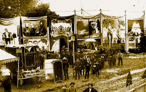By the time that the parade arrived at the circus grounds, the crew had erected the huge tent that seated over 10,000 and the sideshows were waiting to collect extra dollars. We know that the Forebaugh Circus performed at Piedmont Park, on North Liberty Street near the Smith Reynolds Airport, because of the telltale picket fences.