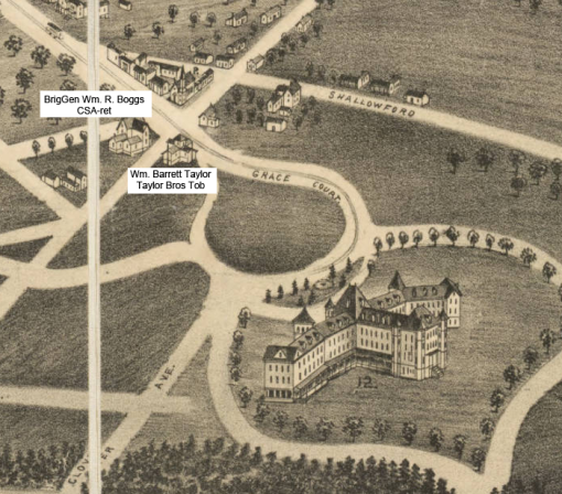 1891 Birds-eye View shows the homes of General Boggs and W.B. Taylor