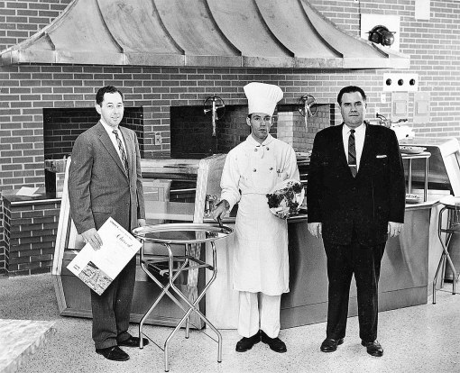 Ken Cheek (left), Lawrence and their chef at the opening of Staley's Charcoal Steakhouse, 1957