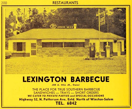 Lexington B-B-Q, 1951, from the 1952 city directory. Joe Hill lived on nearby Motor Road.