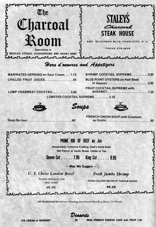 First page of the Charlotte menu, 1978