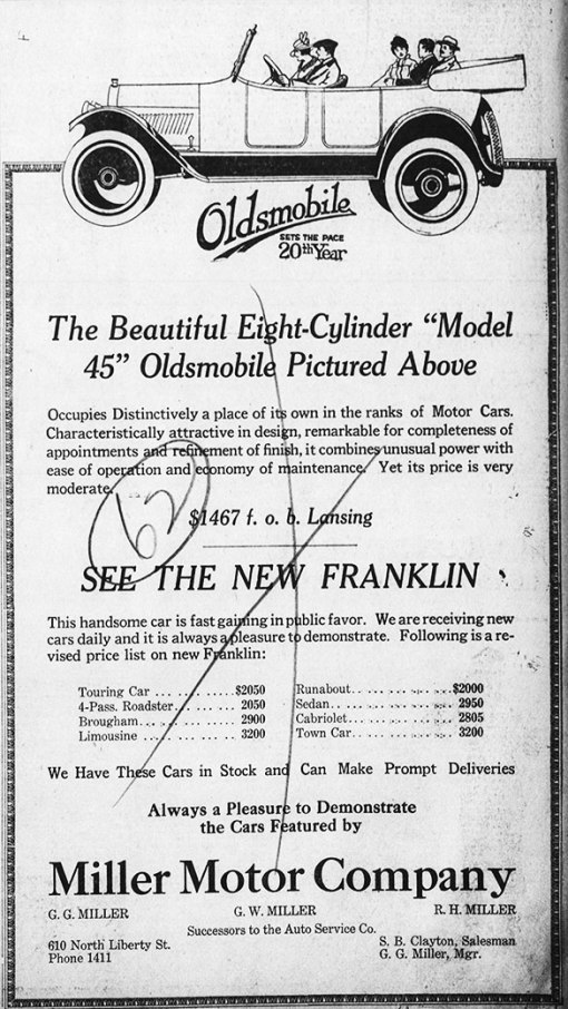 Miller Motors newspaper ad, 1917