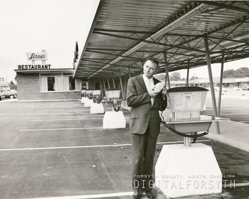 Ralph Eaton at the opening of Leroy's Northside Drive-in in 1959. Within a year, he had sold it to Lawrence Staley for his fourth and final local drive-in.