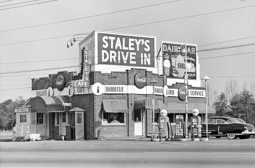 By the early 1950s, the original Reynolda Road Staley's had evolved into a full-fledged drive-in. One of Lawrence's early Cadillacs is at the right.