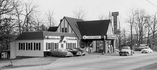 The former Forest Inn has become Staley's Stratford drive-in, early 1950s
