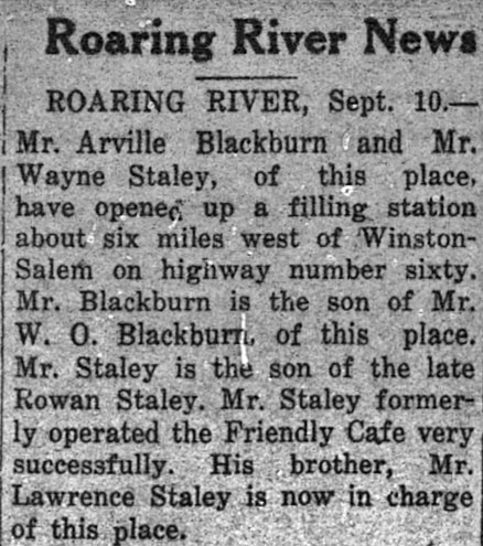 This item, which appears in the Wilke Journal-Patriot, September 12, 1935, clearly establishes the date of the Staley/Bllackburn partnership and the move to Winston-Salem. The Wilkes Journal-Patriot is stilled published as a weekly. The NC Room is a subscriber. Still one of our better area newspapers.