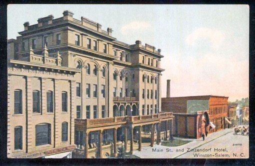 The Zinzendorf Hotel c 1910-11. To the left is the Lemly-Jacobs Building At right is The Motor Company.