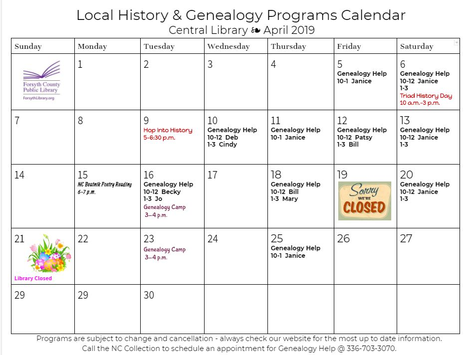 April Genealogy Help Calendar — North Carolina Collection
